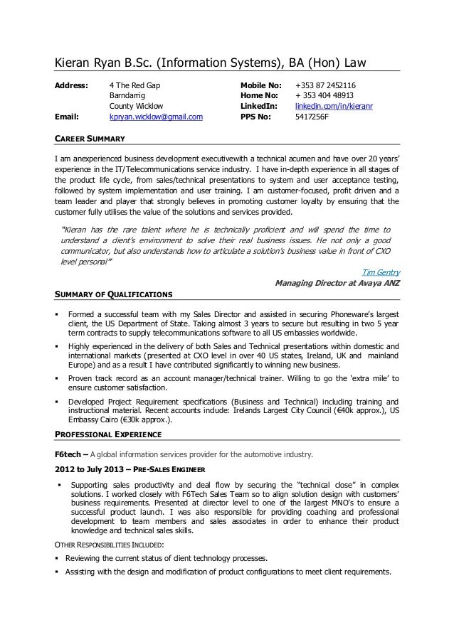 kieran ryan cv business development executive pre sales engineer - Sample Resume Pre Sales Manager