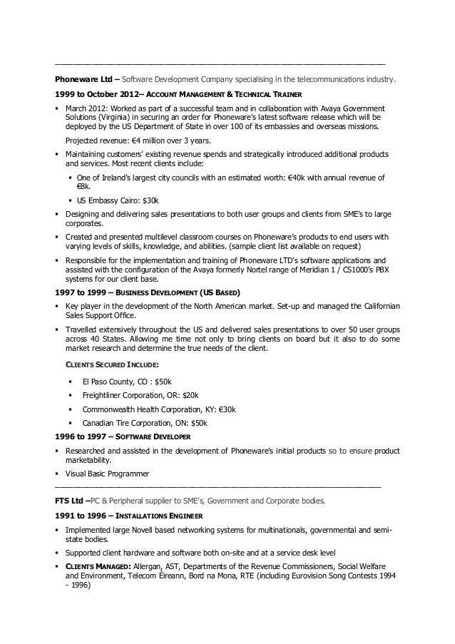 Senior voip engineer resume