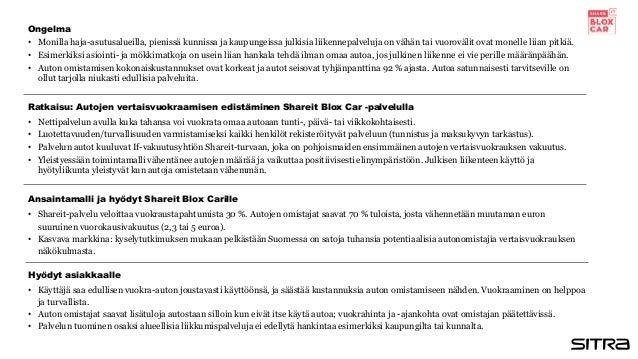 Ratkaisu: Autojen vertaisvuokraamisen edistäminen Shareit Blox Car -palvelulla Hyödyt asiakkaalle Ansaintamalli ja hyödyt ...