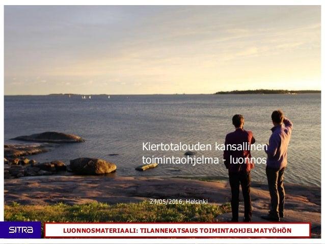 Kiertotalouden kansallinen toimintaohjelma - luonnos 24/05/2016, Helsinki LUONNOSMATERIAALI: TILANNEKATSAUS TOIMINTAOHJELM...