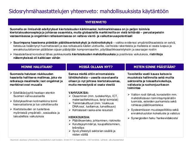 YHTEENVETO Sidosryhmähaastattelujen yhteenveto: mahdollisuuksista käytäntöön MINNE HALUTAAN? Suomesta halutaan niukkuuden ...