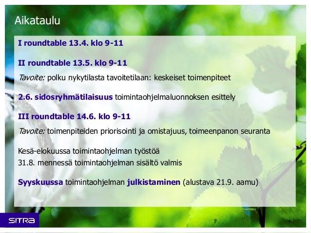 Aikataulu I roundtable 13.4. klo 9-11 II roundtable 13.5. klo 9-11 Tavoite: polku nykytilasta tavoitetilaan: keskeiset toi...