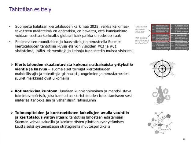 • Suomesta halutaan kiertotalouden kärkimaa 2025; vaikka kärkimaa- tavoitteen määritelmä on epätarkka, on havaittu, että k...
