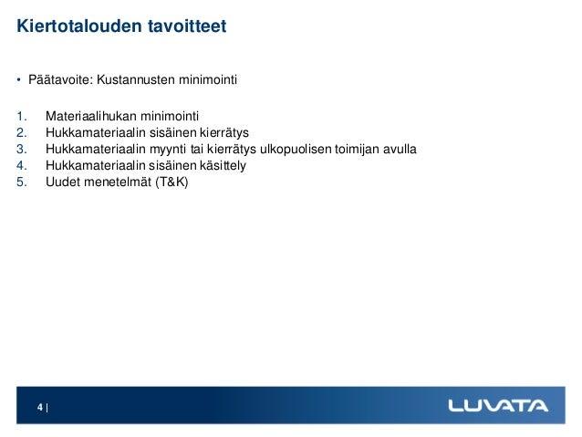 Kiertotalouden tavoitteet • Päätavoite: Kustannusten minimointi 1. Materiaalihukan minimointi 2. Hukkamateriaalin sisäinen...