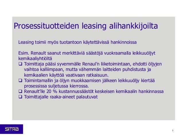 Prosessituotteiden leasing alihankkijoilta Leasing toimii myös tuotantoon käytettävissä hankinnoissa Esim. Renault saanut ...