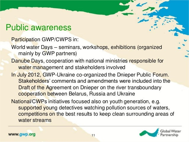 Public awarenessParticipation GWP/CWPS in:World water Days – seminars, workshops, exhibitions (organizedmainly by GWP part...