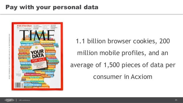 35JDD conference Pay with your personal data 1.1 billion browser cookies, 200 million mobile profiles, and an average of 1...