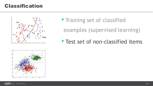 46JDD conference • Training set of classified examples (supervised learning) • Test set of non-classified items Classifica...