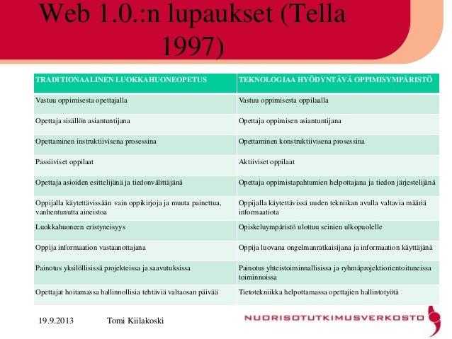 Web 1.0.:n lupaukset (Tella 1997) TRADITIONAALINEN LUOKKAHUONEOPETUS TEKNOLOGIAA HYÖDYNTÄVÄ OPPIMISYMPÄRISTÖ Vastuu oppimi...