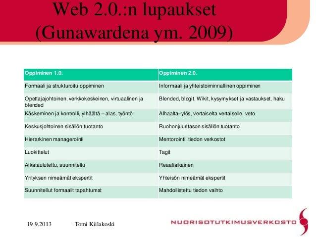 Web 2.0.:n lupaukset (Gunawardena ym. 2009) Oppiminen 1.0. Oppiminen 2.0. Formaali ja strukturoitu oppiminen Informaali ja...