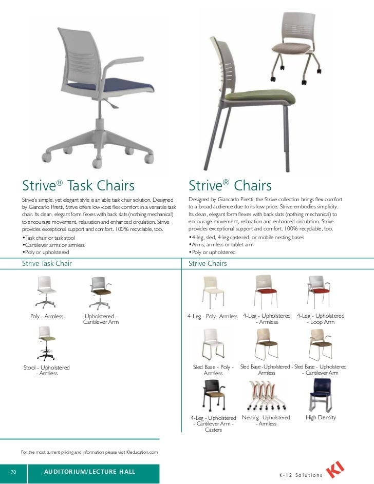 ki tablet arm chairs. 71. strive® task chairs ki tablet arm