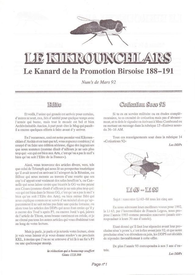 Iæ Kanard de la Promotion Birsoise 188-191                                                      Nums de Mars 92           ...
