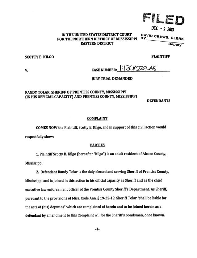 Mississippi Civil Rights Case - Filed 2013
