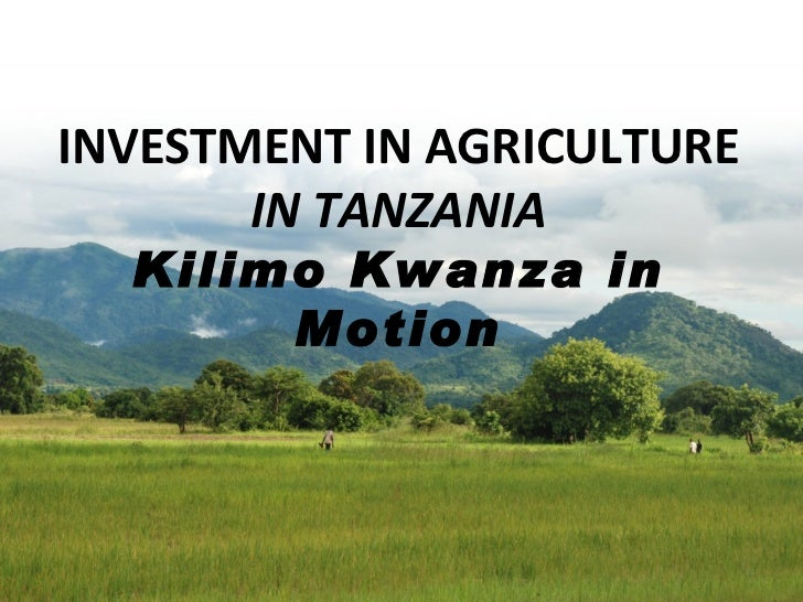 INVESTMENT IN AGRICULTURE IN TANZANIA Kilimo Kwanza in Motion