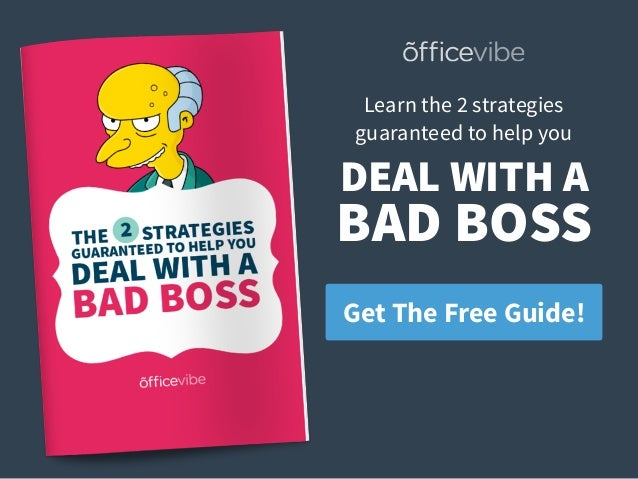Get The Free Guide! Learn the 2 strategies  guaranteed to help you DEAL WITH A BAD BOSS