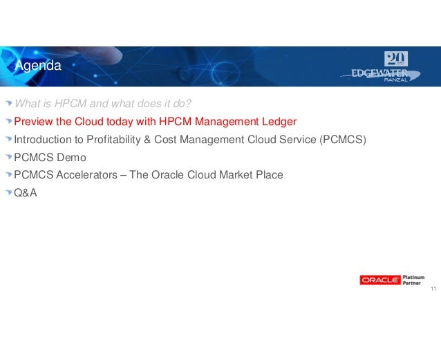 Agenda 11 What is HPCM and what does it do? Preview the Cloud today with HPCM Management Ledger Introduction to Profitabil...