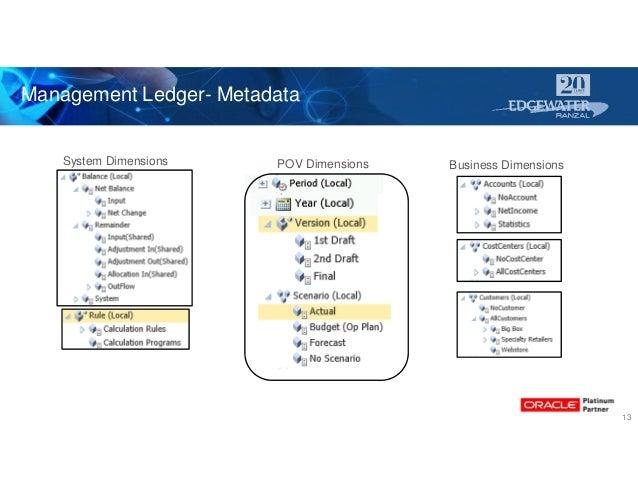 Management Ledger- Metadata 13 System Dimensions POV Dimensions Business Dimensions