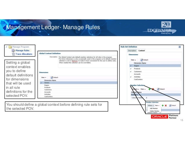 Management Ledger- Manage Rules 15 Setting a global context enables you to define default definitions for dimensions that ...
