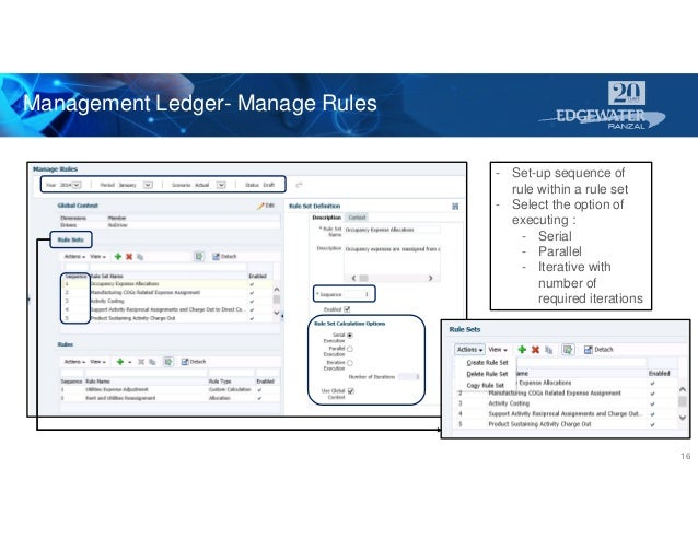 Management Ledger- Manage Rules 16 - Set-up sequence of rule within a rule set - Select the option of executing : - Serial...