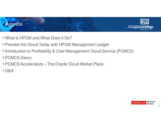 Agenda 5 What is HPCM and What Does it Do? Preview the Cloud Today with HPCM Management Ledger Introduction to Profitabili...