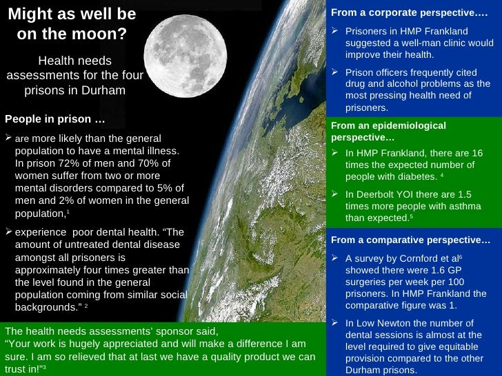 Might as well be on the moon? <ul><li>In HMP Frankland, there are 16 times the expected number of people with diabetes.  4...
