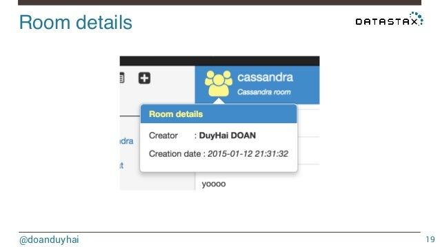 cassandra chatrooms Nosql apache cassandra for messaging messaging apps are faced with high volumes of data the massive increase in mobile storing chat rooms joining and leaving.