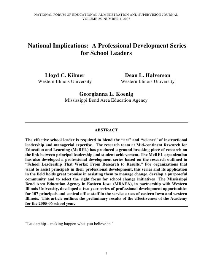 NATIONAL FORUM OF EDUCATIONAL ADMINISTRATION AND SUPERVISION JOURNAL                           VOLUME 25, NUMBER 4, 2007 N...