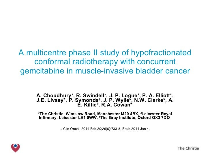 A multicentre phase II study of hypofractionated conformal radiotherapy with concurrent gemcitabine in muscle-invasive bla...