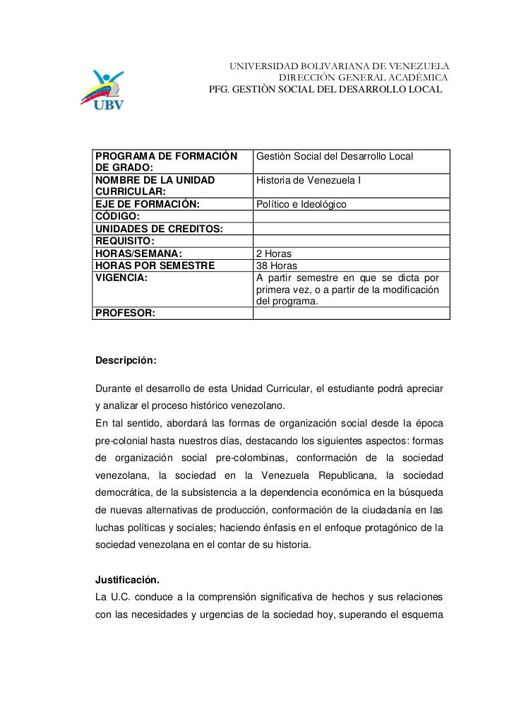 UNIVERSIDAD BOLIVARIANA DE VENEZUELA                                       DIRECCIÓN GENERAL ACADÉMICA                    ...