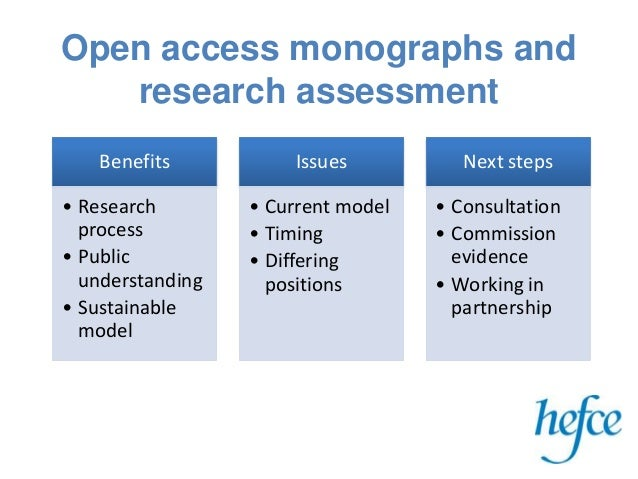 Open access monographs and research assessment Benefits • Research process • Public understanding • Sustainable model Issu...