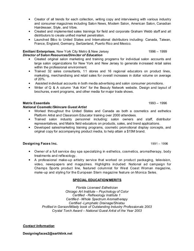 tanning salon resume