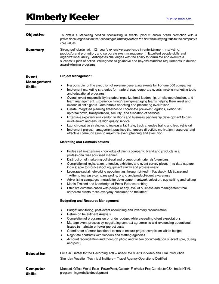 Marketing Resume Examples: KimberlyKeeler Marketing Resume 2012