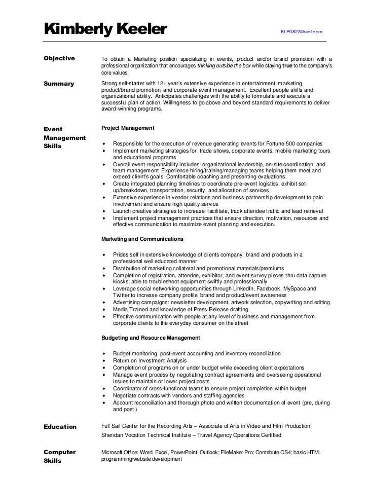 promotional marketing resume