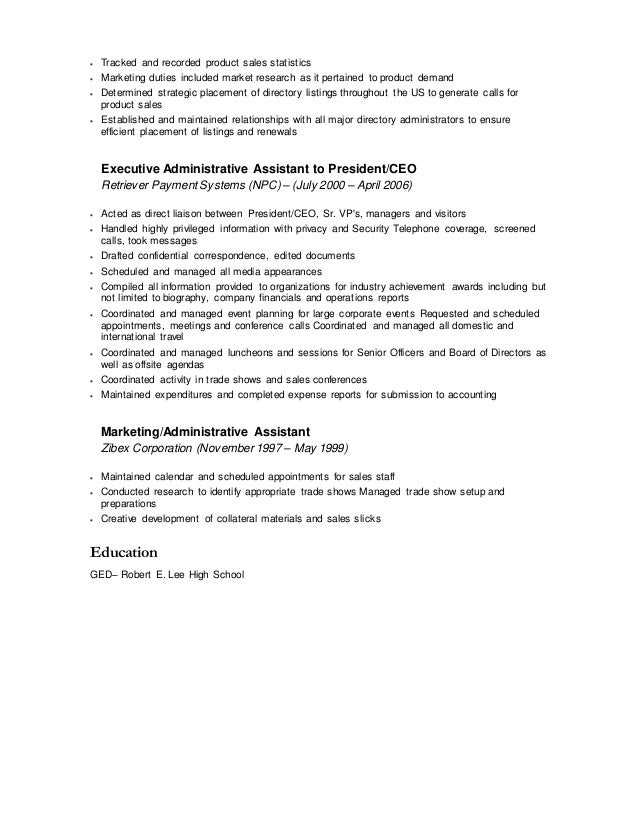 Contract Senior Level ExecutivePersonal Assistant