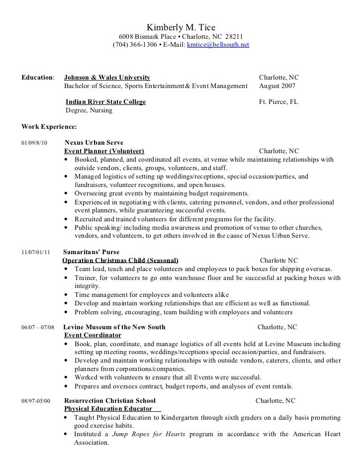 Event Planner Resume Event Planner Resume Career Transition  Event Coordinator Resume