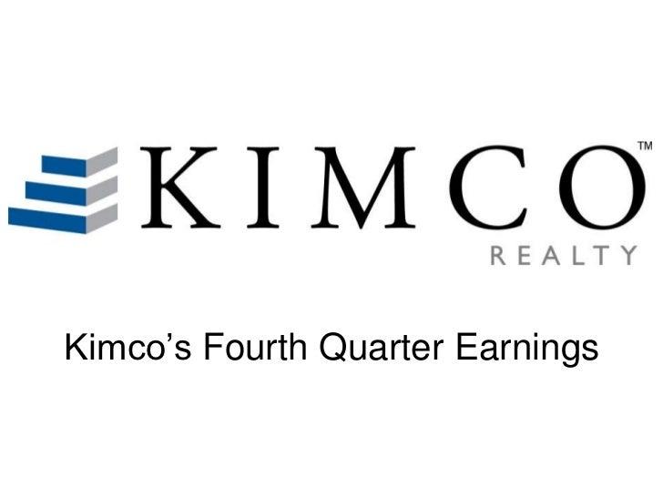 Kimco's Fourth Quarter Earnings
