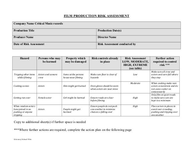 Film Production Risk Assessment Form - Film production company business plan template