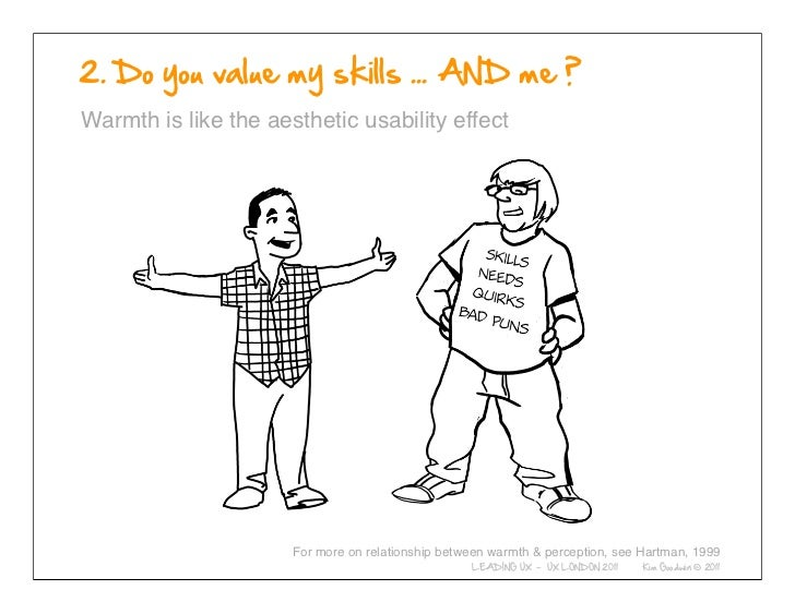 Warmth is like the aesthetic usability effect            © 2010-2011 Kim Goodwin                                 For more ...