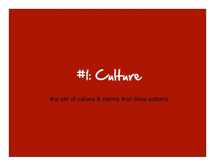 the set of values & norms that drive actions © 2010-2011 Kim Goodwin