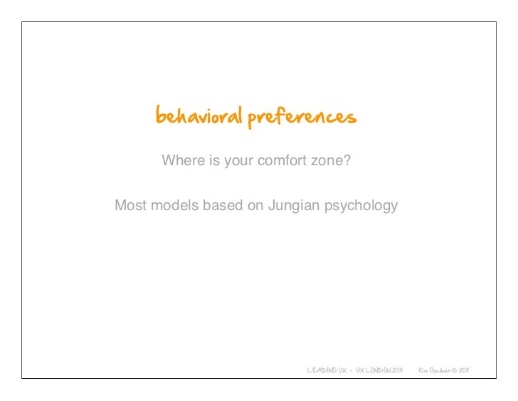 Where is your comfort zone?Most models based on Jungian psychology  © 2010-2011 Kim Goodwin