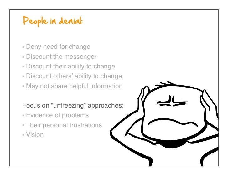 Deny need for change Discount the messenger Discount their ability to change Discount others' ability to change May not sh...
