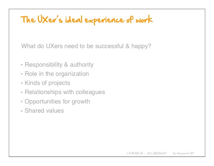 What do UXers need to be successful & happy? Responsibility & authority Role in the organization Kinds of projects Relatio...