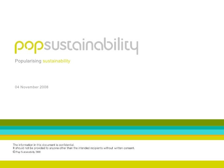 Popularising sustainability     04 November 2008