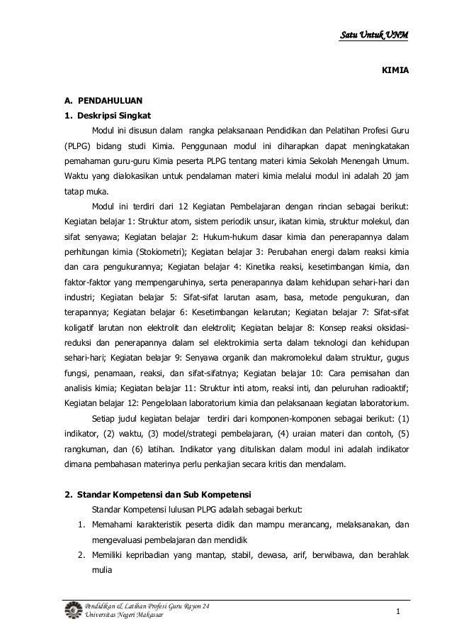 1Pendidikan & Latihan Profesi Guru Rayon 24Universitas Negeri MakassarSatu Untuk UNMKIMIAA. PENDAHULUAN1. Deskripsi Singka...