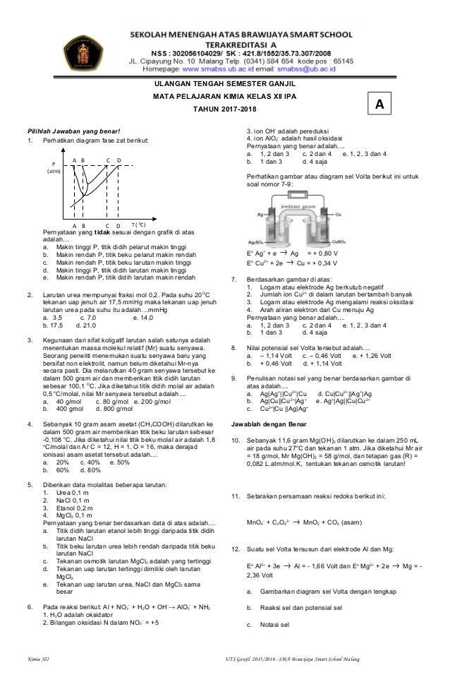 Soal Uts Ganjil Kimia Kelas Xii Ipa