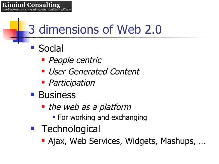 3 dimensions of Web 2.0 <ul><li>Social </li></ul><ul><ul><li>People centric </li></ul></ul><ul><ul><li>User Generated Cont...
