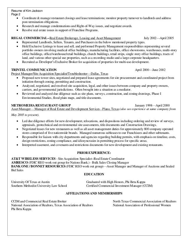 resume - Real Estate Manager Resume