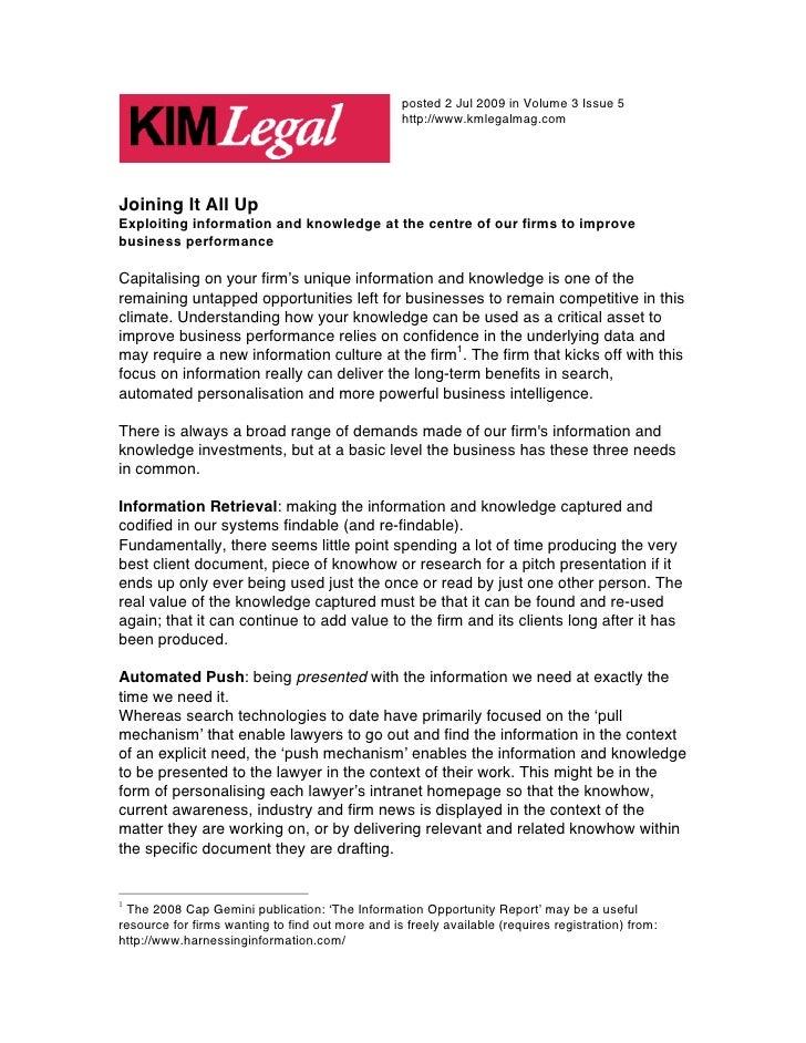 posted 2 Jul 2009 in Volume 3 Issue 5                                                   http://www.kmlegalmag.comJoining I...