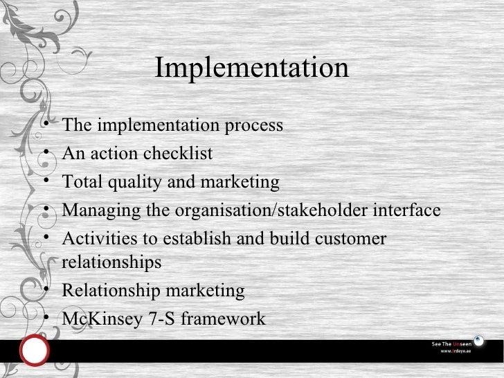 Implementation <ul><li>The implementation process </li></ul><ul><li>An action checklist </li></ul><ul><li>Total quality an...