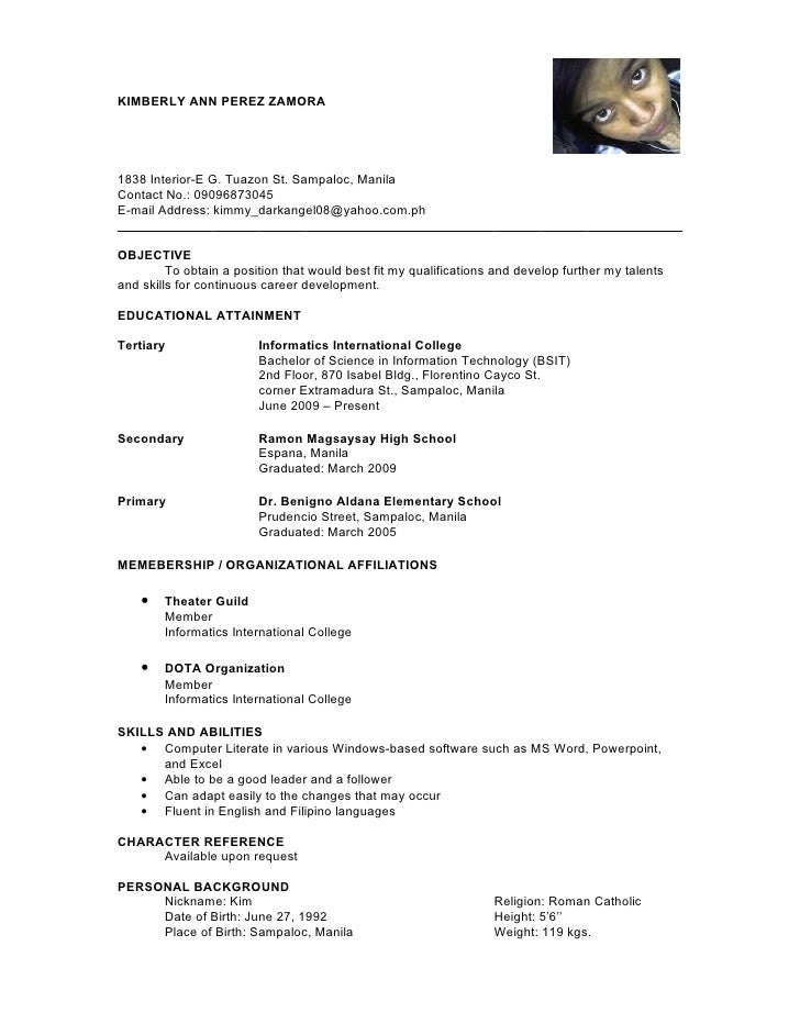 resume samples references